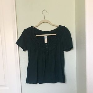 Anthropologie Green Buttoned Top